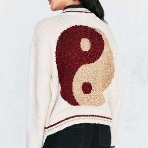 Ecote Yin Yang Wool Blend Fuzzy ZIP Front Sweater